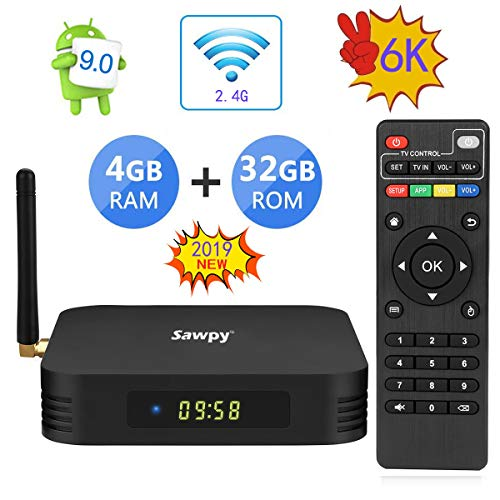 Android 9.0 TV Box TX6 TV Box 4GB RAM Allwinner H6 up to 1.5 GHz Quad Core Arm Cortex-A53 6K BT 5.0 Smart TV Box (32GB 2.4Ghz WiFi)