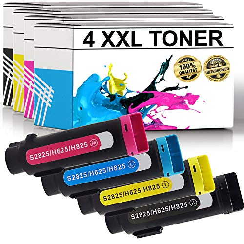 LABT Toner kompatibel zu Dell H625 H825 CDW S2825 CDN H625CDW H825CDW S2825CDN H 625CDW 825CDW S 2825CDN H-625CDW H-625 H-825CDW H-825 S-2825CDN S-2825 4er Set (schwarz, Cyan, Magenta, gelb)