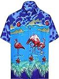 LA LEELA Shirt Camicia Hawaiana Uomo XS - 5XL Manica Corta Hawaii Tasca-Frontale Stampa Hawaiano Casuale Regular Fit Blu Reale666 XL