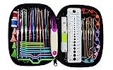 ELINKA - Kit completo para hacer punto con surtido de agujas para ganchillo en aluminio, herramientas de costura, calibre de agujas, tijeras, marcadores de puntada, herramientas para tejer