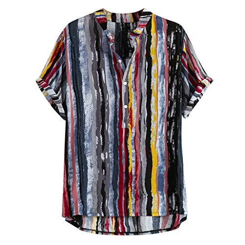 Camicie Moda Manica Corta Casual Slim Fit a Righe Verticali Button Down Stand Collare Strip Print Top Mens (3XL,3- Nero)