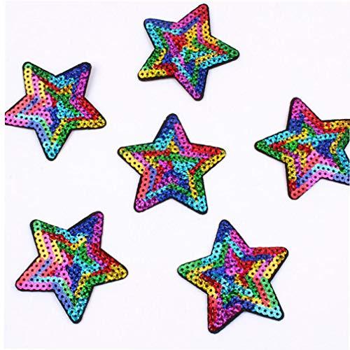 AMOYER 10pcs Lentejuelas Estrella Remiendo del Hierro En Cosen En Calcomanías Forma De Estrellas para La Ropa Jeans Apliques Abrigos Pantalones Insignia De Costura Parches