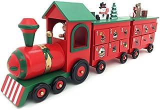 Wooden Advent Calendar 24引き出しとクリスマスの装飾のための一般的な木製アドベントカレンダー列車 (61x10x20cmH, Colorful)