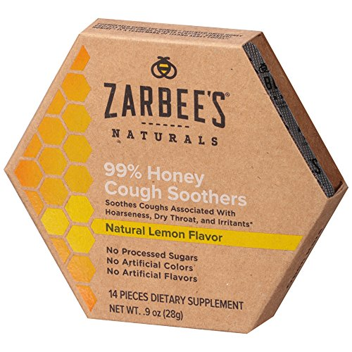 Zarbee#039s Naturals 99% Honey Cough Soothers Natural Lemon Flavor 14 Count