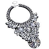 White Crystal Rhinestone Statement Necklace, Chunky Collar Choker Bib Pendant Statement Necklace Fashion Necklace Jewelry for Women