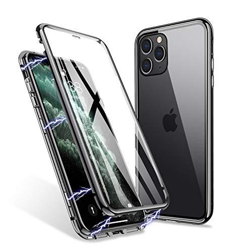 ZHIKE iPhone 11 Pro Hülle, Magnetic Adsorption Case Vorder- und Rückseite aus gehärtetem Glas Vollbild-Abdeckung Einteiliges Design Flip Cover [Support Wireless Charging] (Klar Schwarz)