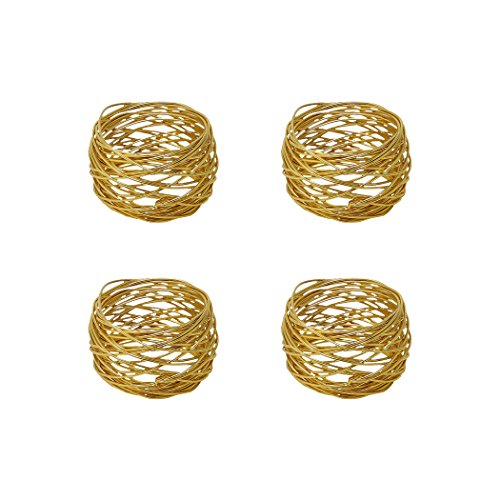 Klikel Gold Napkin Rings - Set of 4 Napkin Holders - Round Mesh Design - Wedding Christmas Holiday Napkin Rings - Table Décor