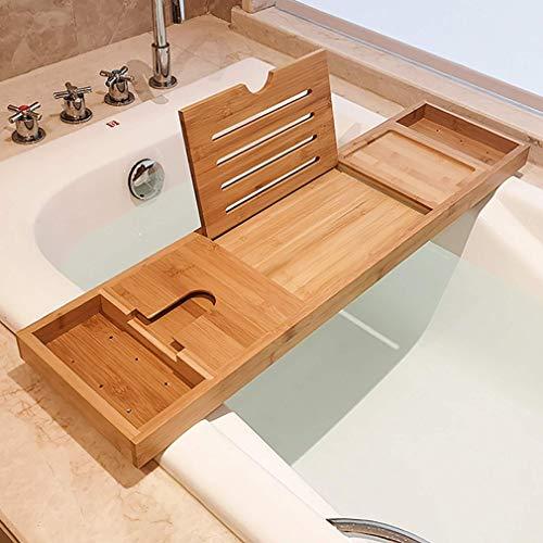 RUIXFRU Bandeja de baño de bambú, estantes de almacenamiento de baño, bandeja de baño ajustable, estante para bañera