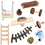 Storystore Hamster Chew Toys, Chinchilla Guinea Pig Bunny Toys Accessories, Natural Wooden Teeth Care Molar Toys Exercise Dumbells Bell Roller for Gerbil Rabbit Birds