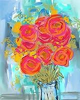 DIYデジタル油絵キャンバス 抽象芸術のバラの花 大人の染色アートぬりえデジタル油絵セット大人の子供初心者油絵セット 家の装飾とホリデーギフト 30x45cm フレームレス