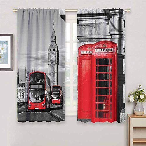 DIMICA Black Out Window Curtain London London Telephone Booth in The Street Traditional Local Cultural Icon England UK Retro Soundproof Privacy Window Curtains W63 x L72 Inch Red Grey
