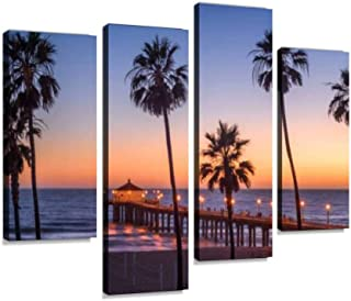 Manhattan Beach Pier at Sunset, Los Angeles, California Canvas Wall Art Hanging Paintings Modern Artwork Abstract Picture Prints Home Decoration Gift Unique Designed Framed 4 Panel