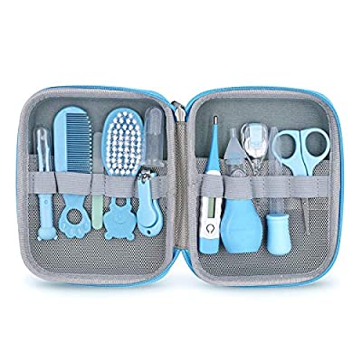 Baby Grooming Kit, 11 in 1 Baby Healthcare Kit Safety Health Care Set with Hair Brush Comb Nail Clipper Nasal Aspirator Baby Thermometer etc for Nursery Newborn Infant Girl Boys Keep Healthy and Clean