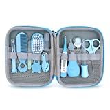 Baby Grooming Kit, Portable Baby Safety Care Set with Hair Brush Comb Nail Clipper Nasal Aspirator Baby Thermometer etc for Nursery Newborn Infant Girl Boys Keep Clean (11 in 1 Blue)