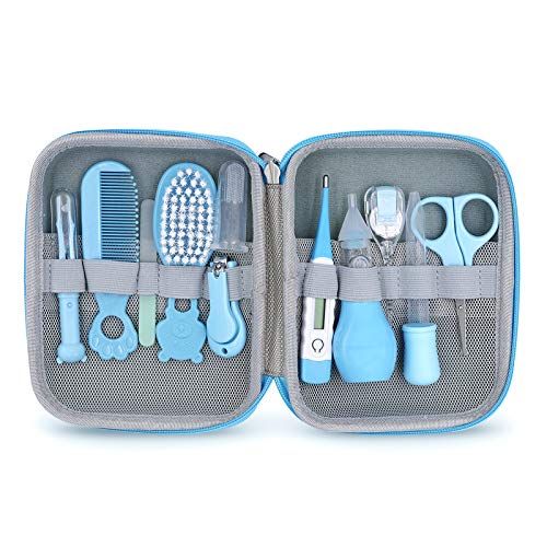 Baby Grooming Kit, 11 in 1 Portable Baby Safety Care Set with Hair Brush Comb Nail Clipper Nasal Aspirator Baby Thermometer etc for Nursery Newborn Infant Girl Boys Keep Clean(Blue)