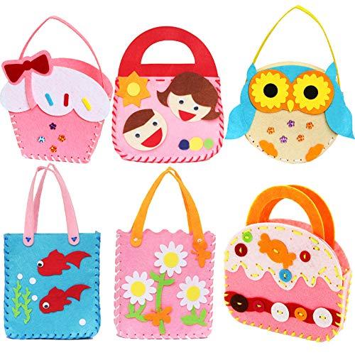 Dsaren Kit de Costura para Niños, Creativas Kits de Fieltro No Tejido Tela Bolso Artesanal para Niñas Regalo (Paquete de 6)