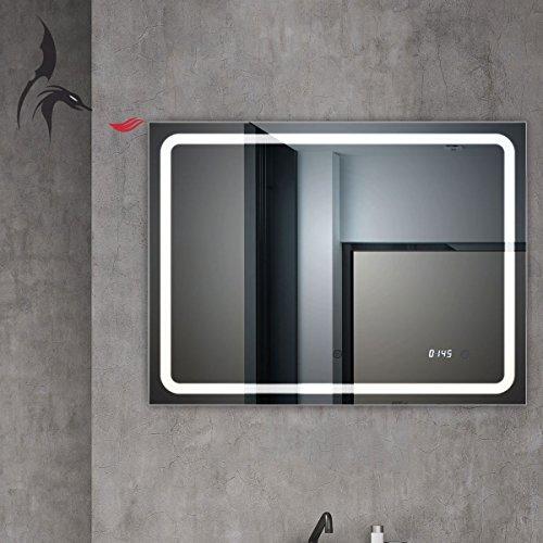 Top Noël d'action. Miroir de salle de bain avec horloge, Bruchsal 80 x 60 cm, Salle de Bain Miroir avec lumière, classe énergétique A +