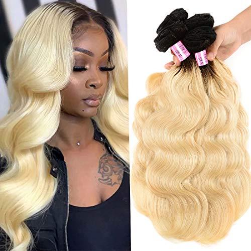 UNice 10A Ombre Blonde Body Wave Human Hair 1 Bundle 18 inch, Brazilian Remy Hiar Two Tone Dark Roots 613 Honey Blonde Wavy Weave 1B613 Color (18inch)