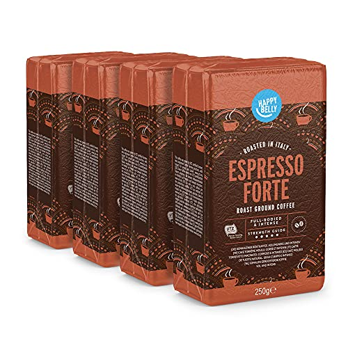 Marca Amazon - Happy Belly Café molido 'Espresso Forte' (4 x 250g)