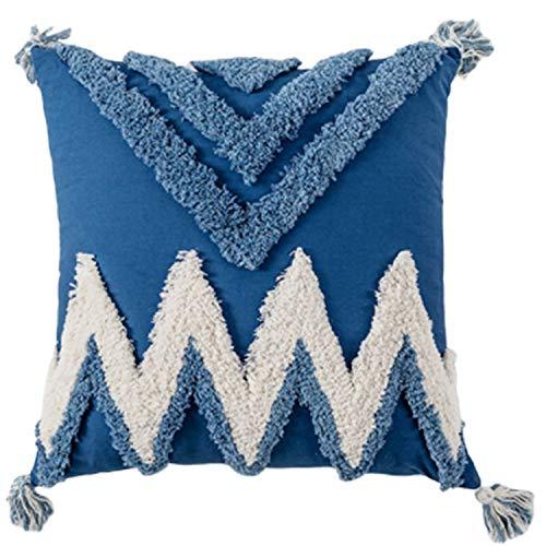 Fauge Fundas de Almohada de Tiro Boho DecoracióN Tribal Moderna Azul con Flecos de Mechones Borla Sofá CojíN Funda para Dormitorio Sala de Estar Sofá Coche-Cuadrado Azul