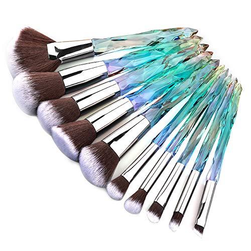 Kingtree Crystal Makeup Brush Set, 10PCS Professional Makeup Brushes Premium Synthetic Bristles Foundation Blush Concealer Eyeshadow Eyeliner Make Up Brushes for Women & Girls