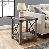 Eden Bridge Designs Rustic Cottage Square Side, Industrial Design Storage Sofa Table for Living Room or Bedroom, Laminate Grey Wash, One Size