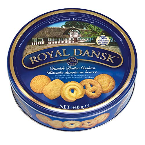 Royal Dansk Classic Danish Butter Cookies, All Natural, 40 Biscuits per Tin, Perfect for Sharing and as a Gift, 340 g, Pack of 6