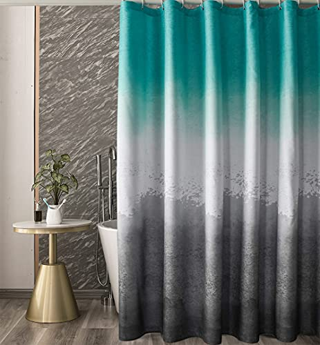 Finnez Shower Curtain Green and Gray Polyester Ombre Fabric Shower Curtains for Bathroom, Waterproof Shower Curtain Set with 12 Hooks, 72 x 72 Inch, 1 Panel