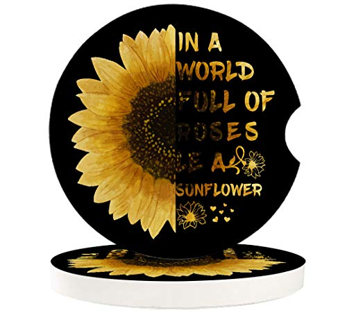 Absorbent Car Coasters for Cup Holders(4 Pack), Women/Men Ceramic Stone Drinks Coaster Set, Creative Funny Sandstone Car Accessory, Sunflower Quotes Black