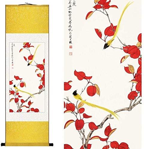 Décorations murales Style chinois Aquarelle Traditionnelle Chinoise Soie Fleur & Oiseau Feuille Rouge Deux Orioles Encre Art Toile Photo De Mur Damassé Encadrée Peinture De Rouleau...