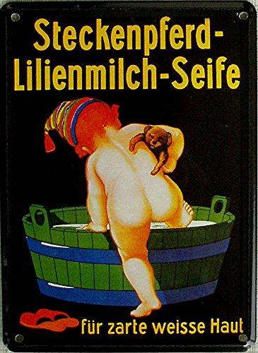 Mini-Blechschild Steckenpferd-Lilienmilch-Seife, 8 x 11 cm