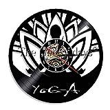 LIMN Reloj Regalo 1 Pieza Yoga Autoconocimiento Práctica Reloj de Vinilo Filosofía hindú Diseño Brillante Luz LED Iluminada Reloj de Vinilo para Pared