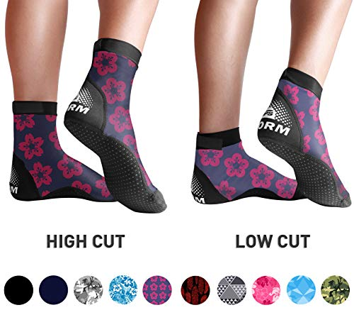 BPS 'Storm' Lycra Fin Socks - Socks for Beach Volleyball, Surfing, Dive Shoes, Diving, Kayaking, Snorkeling, Beach Sports, Sand Volleyball, Swimming - Low Cut Socks (Pink and Purple Floral, XS)