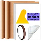 Printable Vinyl Heat Transfer Paper for Dark & Light Fabric 30 Sheets 8.3 x11.7' Iron-on Paper for Inkjet Printer Epson HP Canon with Teflon Sheet Heat Tape & Scraper