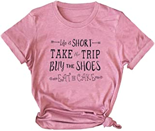 TAKEYAL Life is Shirt Take The Trip Letter Print T-Shirt Women Summer Funny Graphic Short Sleeve Tee Tops