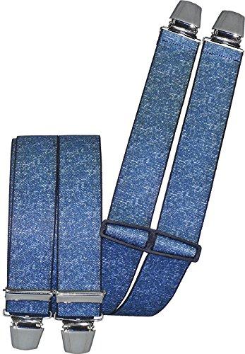 Harrys-Collection Herren Hosenträger mit 4 Clips in 2 Jeans Farben, Farben:jeansblau, Größen:120 cm
