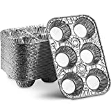 MontoPack Disposable Aluminum Foil 6-Cup Muffin Tins   Made in USA Standard Size, Perfect for Baking Cupcakes, Mini Pies and Pastries with Easy Release   Set of 20 Strong and Durable Tin Pans