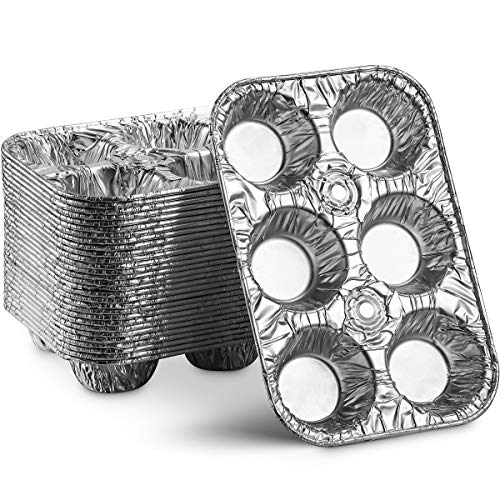 MontoPack Disposable Aluminum Foil 6-Cup Muffin Tins | Made in USA Standard Size, Perfect for Baking Cupcakes, Mini Pies and Pastries with Easy Release | Set of 20 Strong and Durable Tin Pans