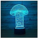 Luz nocturna para niños Lámpara 3D Ilusión Luz Nocturna LED con Cable USB y 7 funciones de cambio de color regalo de Navidad jóvenes, adultos, niñas Casa de setas-Touch