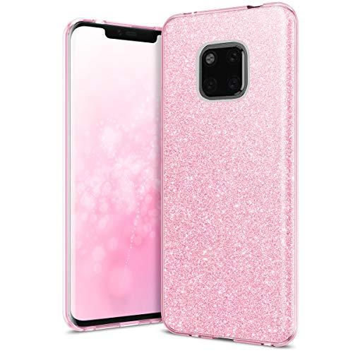 QULT Hülle kompatibel mit Huawei Mate 20 Pro Handyhülle Glitzer Rose Silikon glänzend TPU Tasche Hülle Bumper mit Glitter Design Sparkles Pink