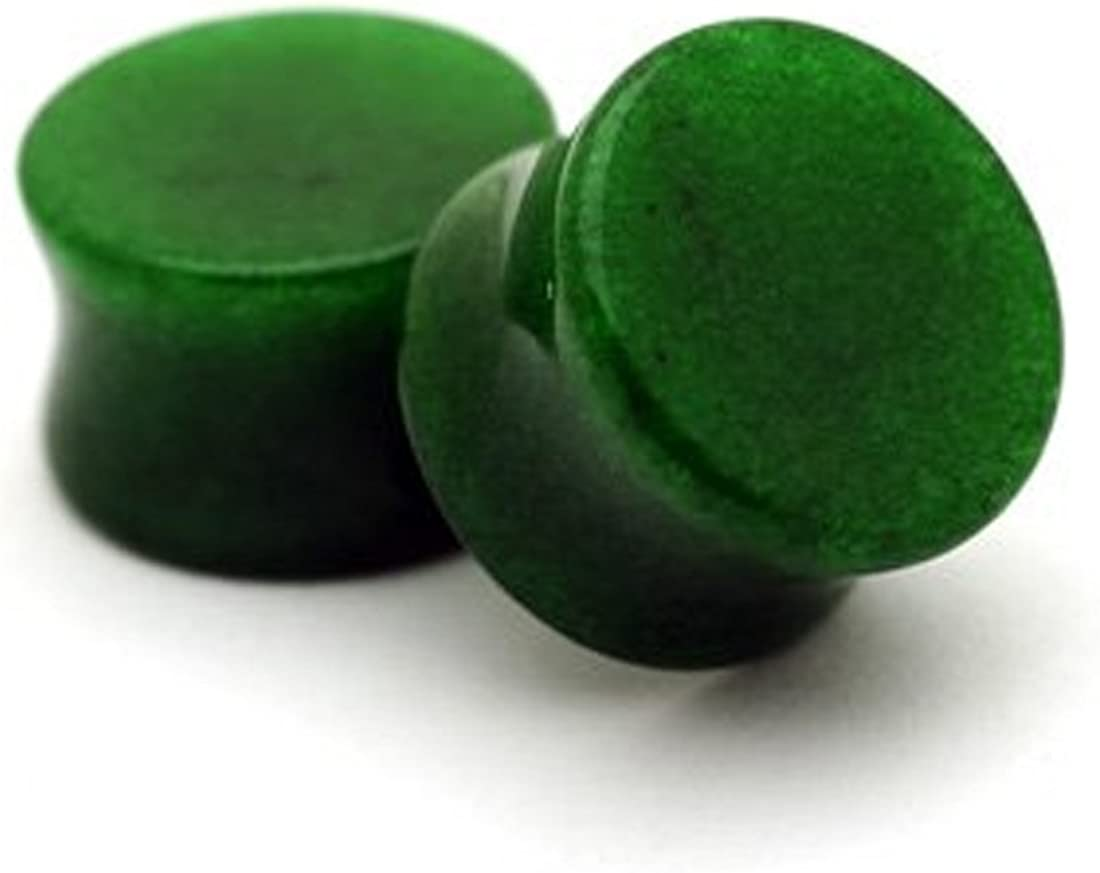 Mystic Metals Body Jewelry Green Jade Stone Plugs - 00g - 10mm - Sold As a Pair