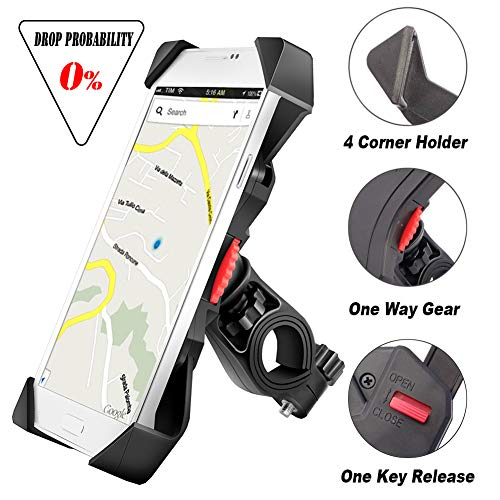 visnfa Bike Phone Mount Anti Shake and Stable Cradle Clamp with 360° Rotation Bicycle Phone Mount/Bike Accessories/Bike Phone Holder for iPhone Android GPS Other Devices Between 3.5 to 6.5 inches