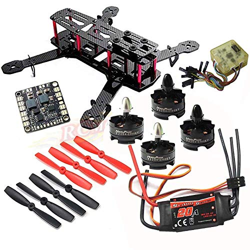 Drohneks Kit Telaio Drone Racing 250 Quadcopter H250 Fai da Te e Motore T2204 2300KV e Simonk 20A ESC e Controller di Volo CC3D e 5045 elica e hub di Alimentazione Matek