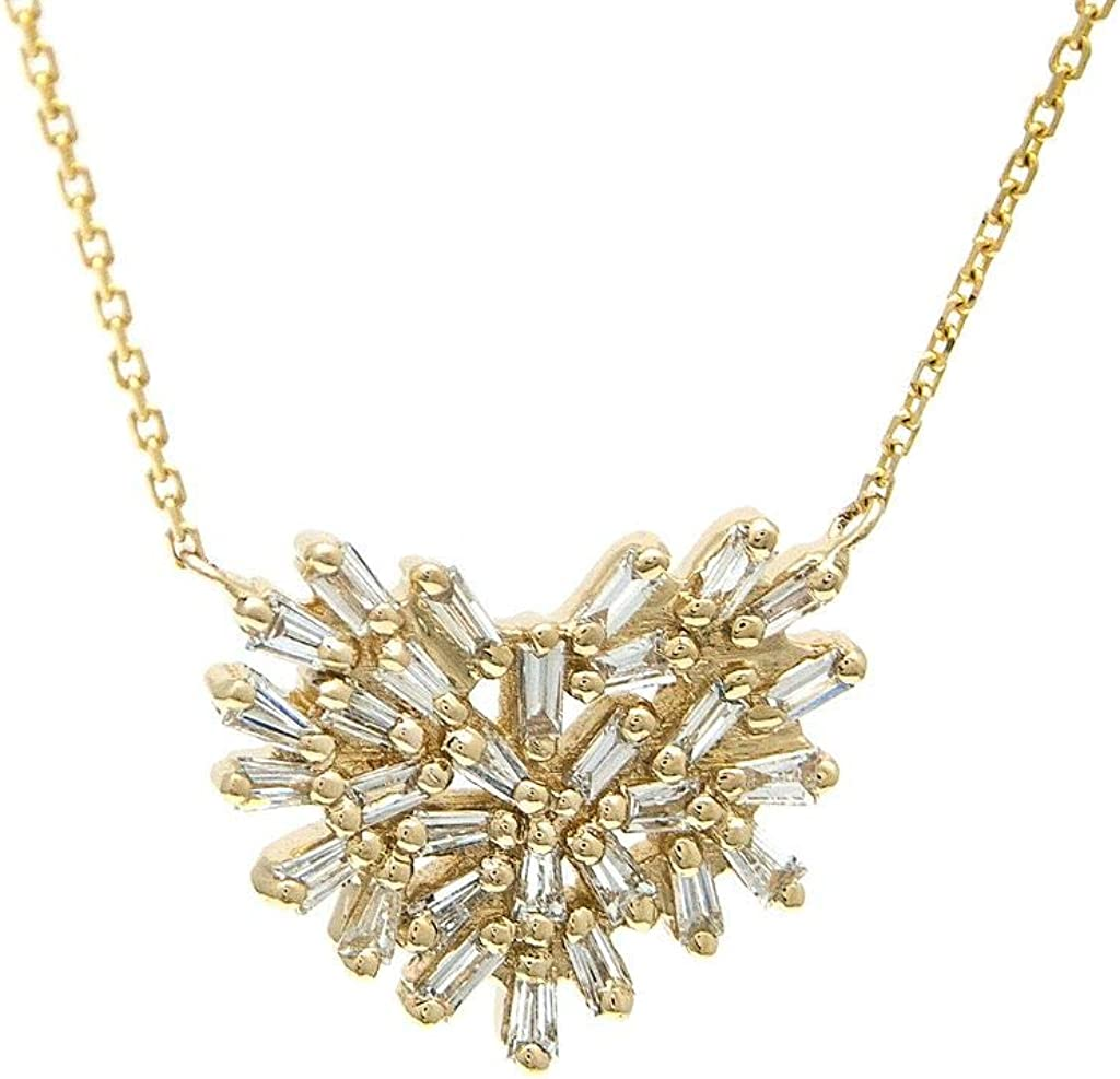14k Yellow Gold Heart Max Bargain 79% OFF Baguette Cut Set dwt Diamond 0.46 Ne Prong