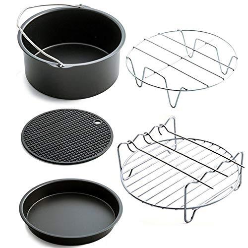 Furobayuusaku Air Frying Pan Accessories 5pcs Fryer Baking Basket Pizza Plate Grill Pot Mat
