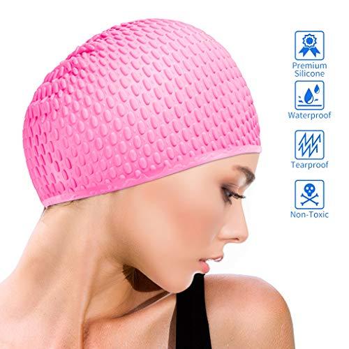 Idefair Cuffie da Nuoto - Cuffie da Nuoto in Silicone Cappelli da Nuoto Cuffie da Bagno Impermeabili Antiscivolo per Capelli e Donne Lunghi