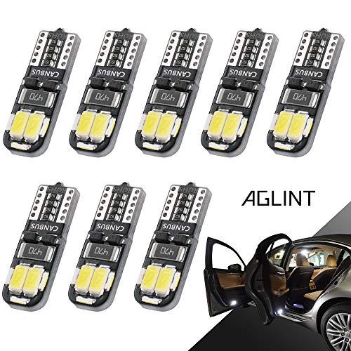 AGLINT T10 LED Lampadine CANBUS 10SMD W5W 194 168 2825 Cuneo Tipo Lampadine Auto Targa Lampadine Luci di Posizione Interno Luce di Indicatore Laterale 6500K Bianco 8 Pezzi
