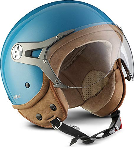 "SOXON® SP-325 Mono ""Crystal Blue"" · Jet-Helm · Motorrad-Helm Roller-Helm Scooter-Helm Moped Mofa-Helm Chopper Retro Vespa Vintage Pilot Biker · ECE 22.05 Visier Schnellverschluss Tasche L (59-60cm)"