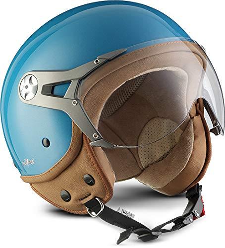 "SOXON® SP-325 Mono ""Crystal Blue"" · Jet-Helm · Motorrad-Helm Roller-Helm Scooter-Helm Moped Mofa-Helm Chopper Retro Vespa Vintage Pilot Biker · ECE 22.05 Visier Schnellverschluss Tasche M (57-58cm)"