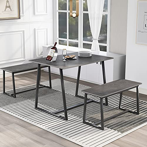 Dining Table Set with Two Benches Industrial Style MDF top with Metal legs,for 2-4 People Table Set 3 Pieces Brown Bar Table Set (Gray)